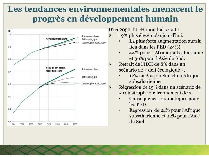 Les tendances environnementales menacent le progrès en développement humain