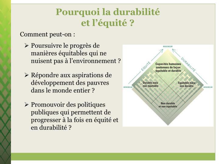 Pourquoi la durabilité