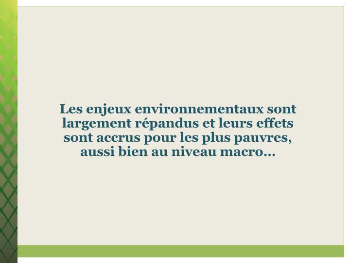 Les enjeux environnementaux sont largement répandus et leurs effets sont accrus pour les plus pauvres, aussi bien au niveau macro…