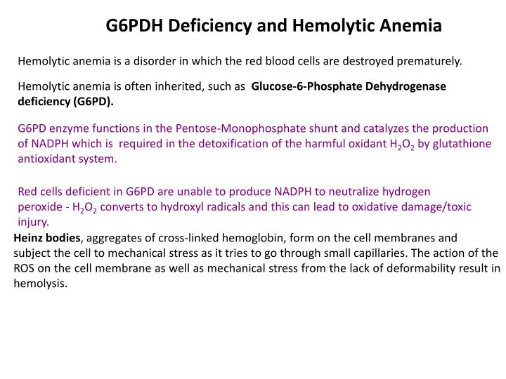 G6PDH Deficiency and Hemolytic Anemia