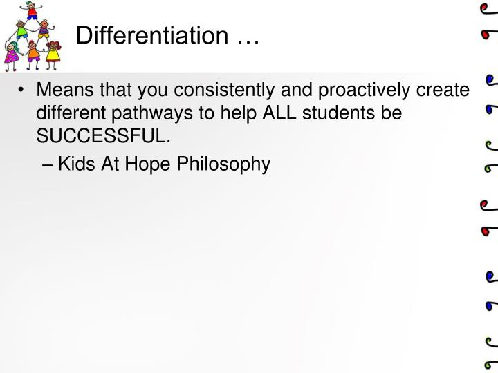 Differentiation …