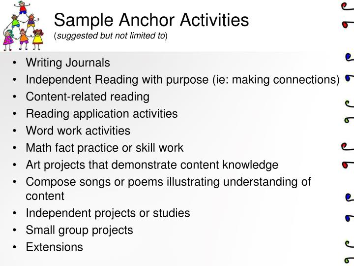 Sample Anchor Activities