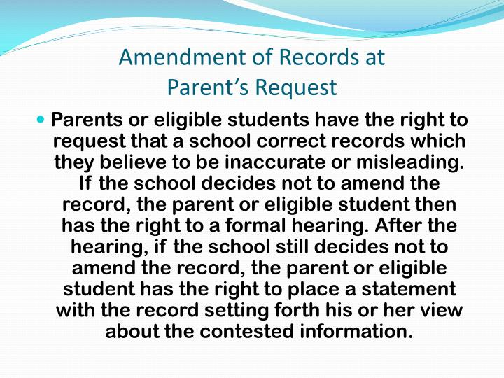 Amendment of Records at