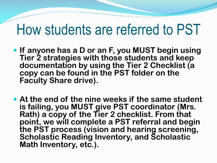 How students are referred to PST