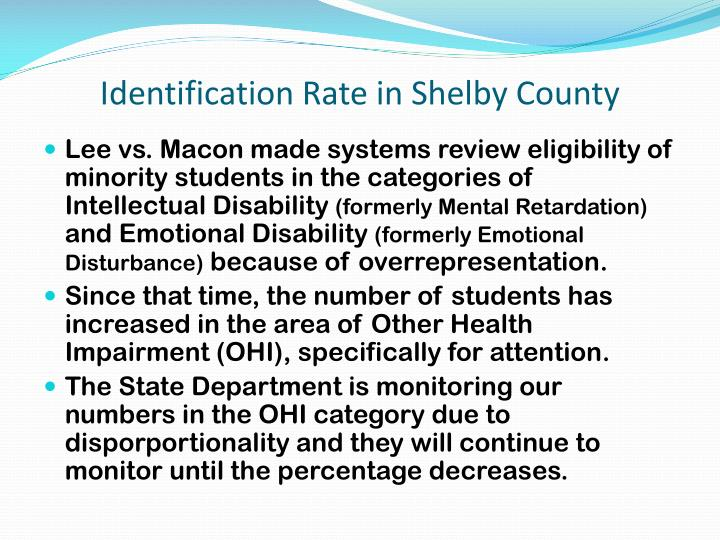 Identification Rate in Shelby County
