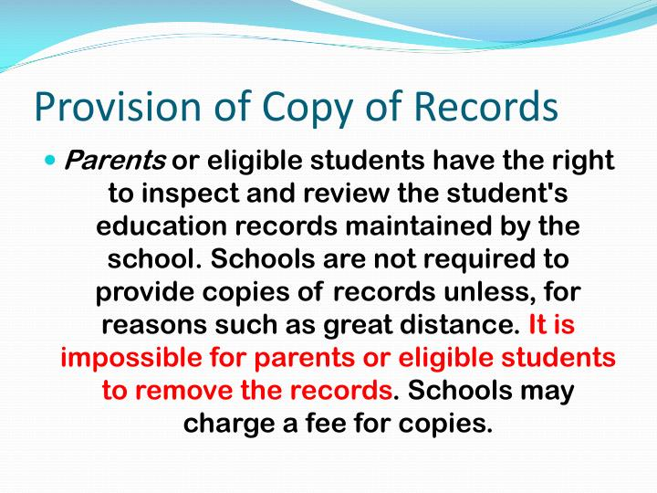 Provision of Copy of Records