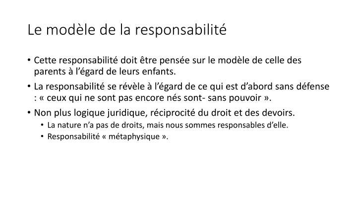 Le modèle de la responsabilité