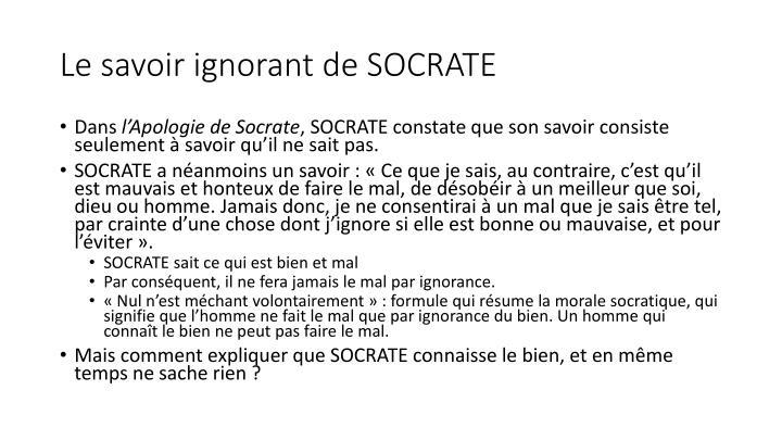 Le savoir ignorant de SOCRATE
