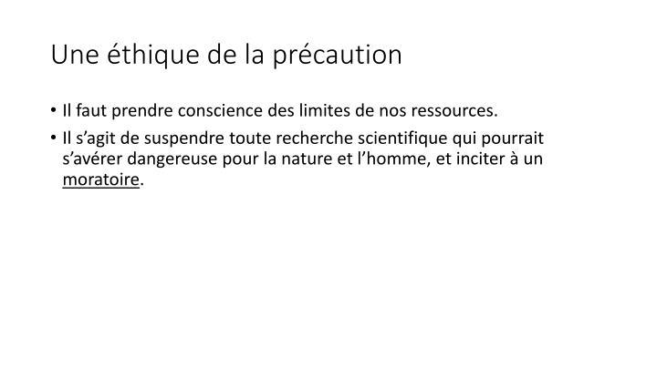Une éthique de la précaution