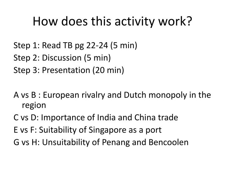 How does this activity work?