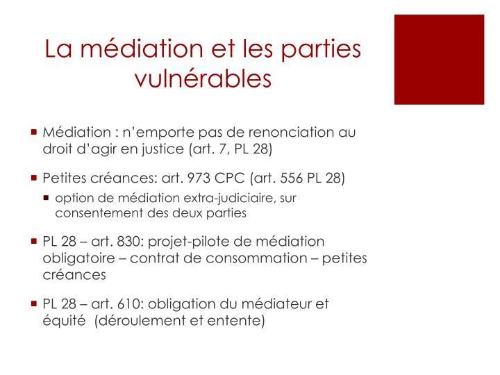 La médiation et les parties vulnérables