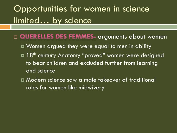Opportunities for women in science limited… by science