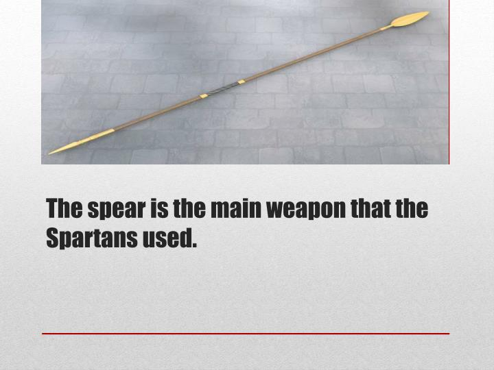 The spear is the main weapon that the Spartans used.
