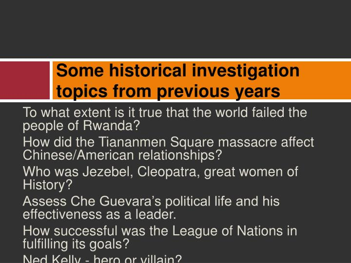 PPT - Modern History Historical Investigation PowerPoint ...