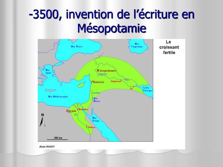 -3500, invention de l'écriture en Mésopotamie