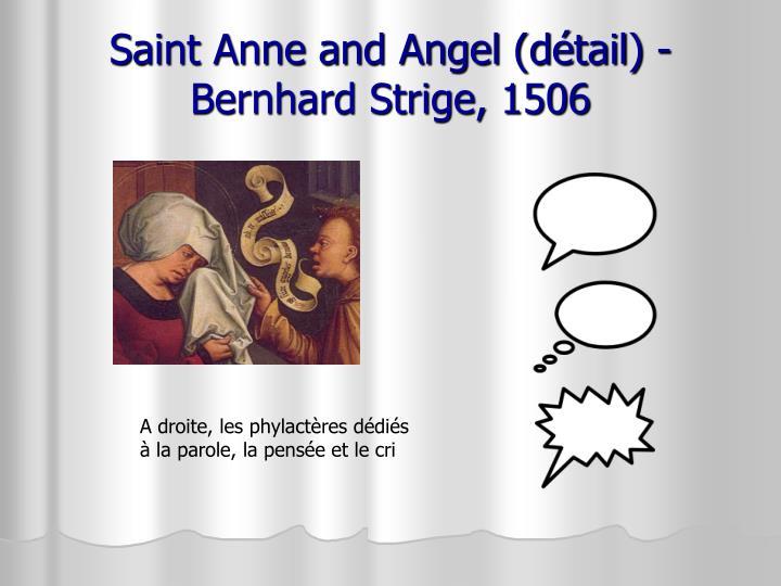 Saint Anne and Angel (détail) - Bernhard Strige, 1506