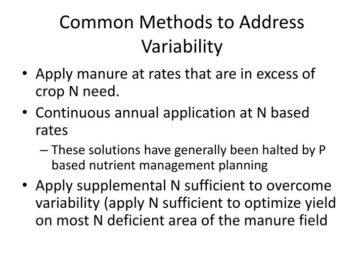 Common Methods to Address Variability