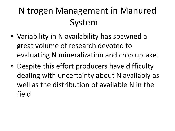 Nitrogen Management in
