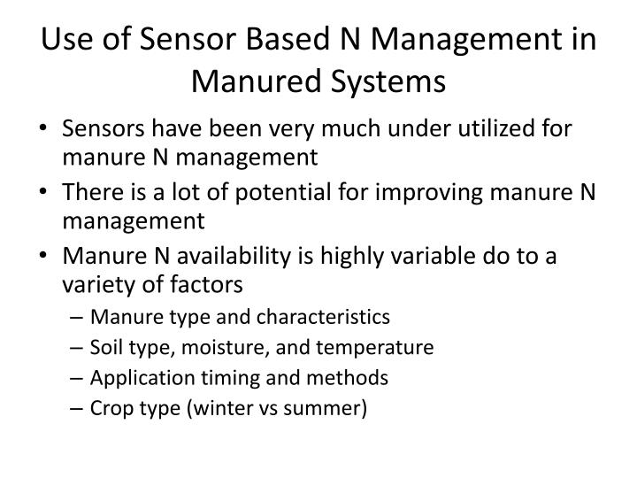 Use of Sensor Based N Management in