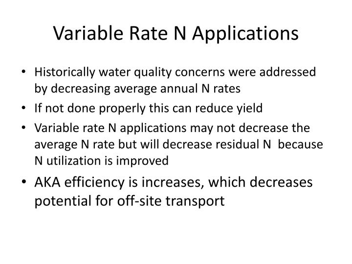 Variable Rate N Applications
