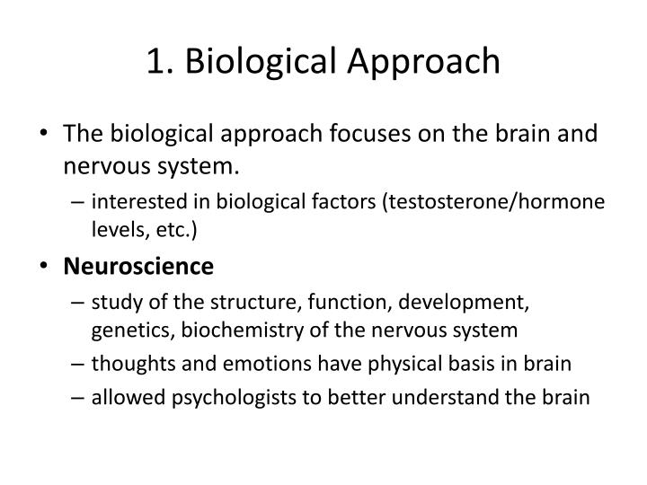 weakness of the biological approach Psychology physiological approach powerpoint maguire summary of the physiological approach focuses on the relationship between our biological.