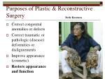 purposes of plastic reconstructive surgery