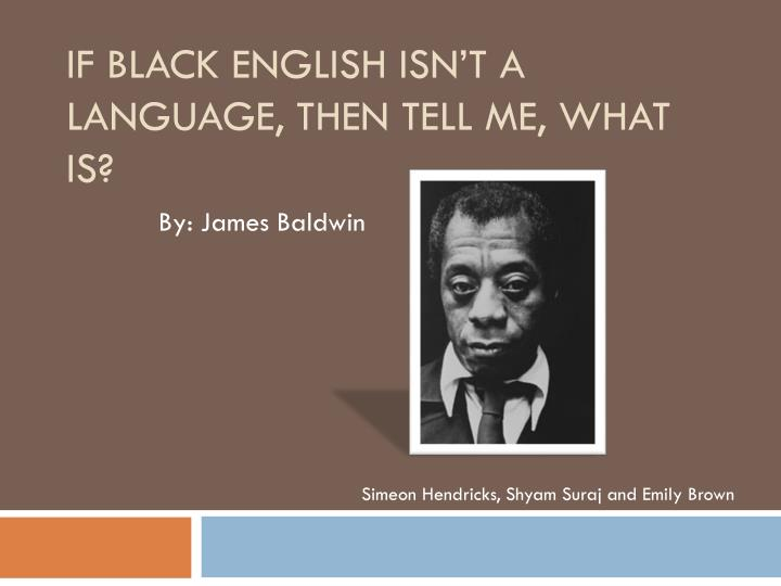 james baldwin essays black english