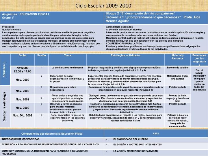 Ciclo Escolar 2009-2010