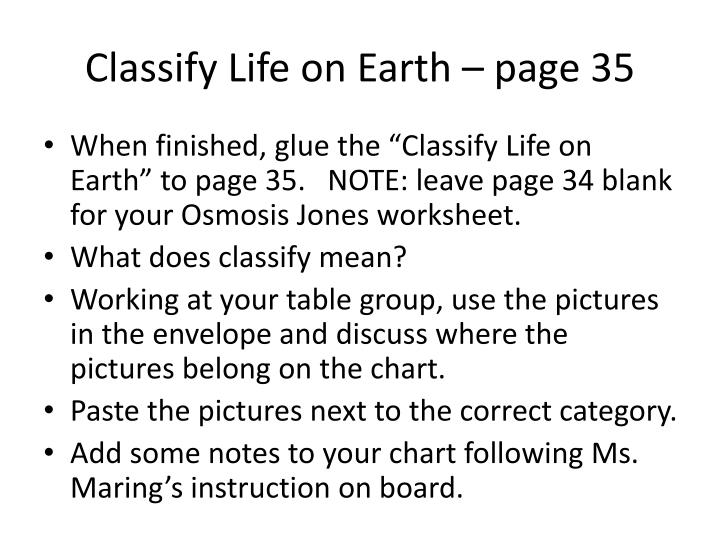 Classify Life on Earth – page 35