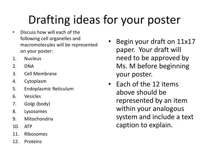 Drafting ideas for your poster