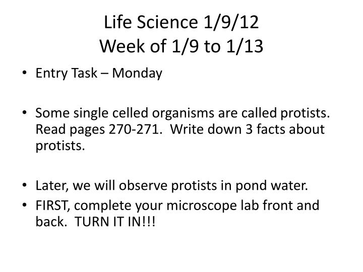 Life Science 1/9/12