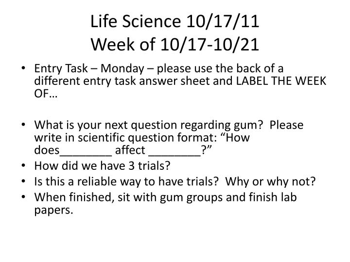 Life Science 10/17/11