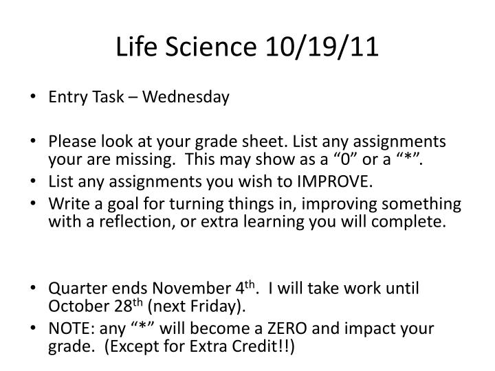 Life Science 10/19/11
