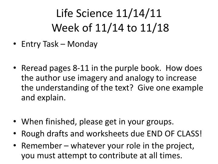 Life Science 11/14/11