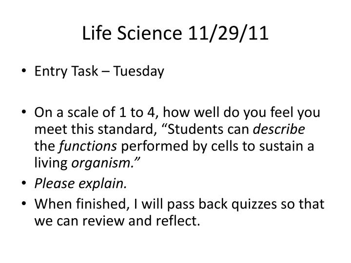 Life Science 11/29/11