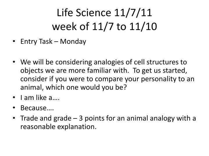 Life Science 11/7/11