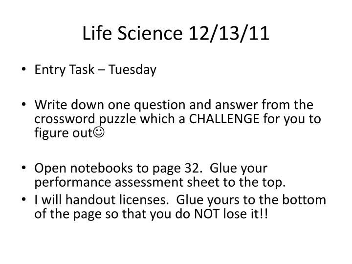 Life Science 12/13/11