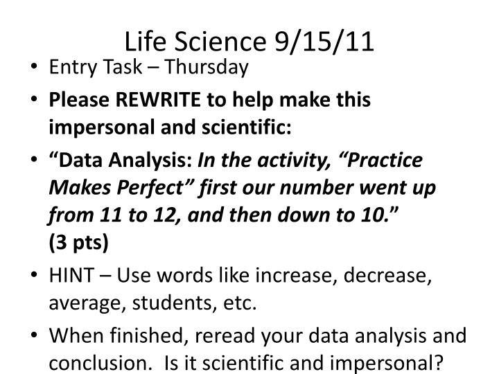 Life Science 9/15/11