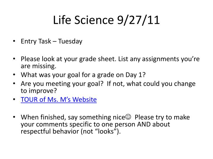 Life Science 9/27/11