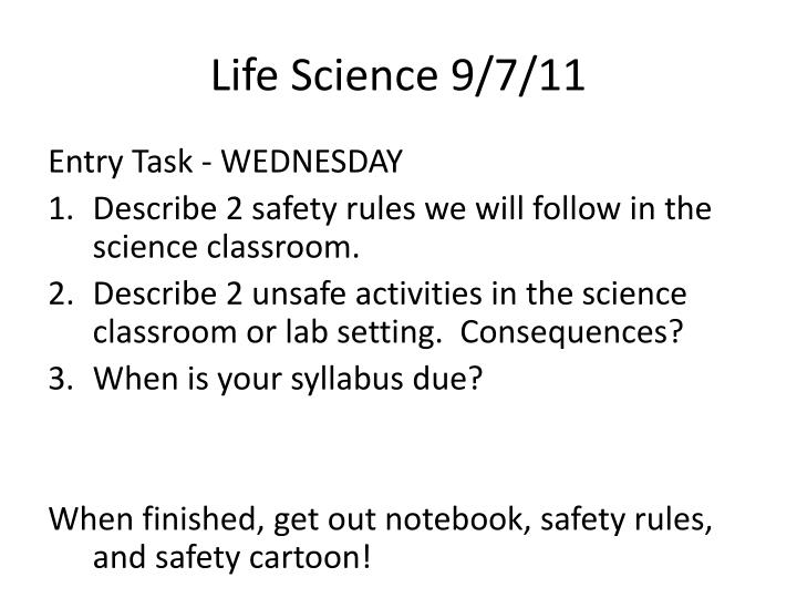 Life Science 9/7/11