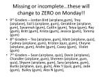 missing or incomplete these will change to zero on monday