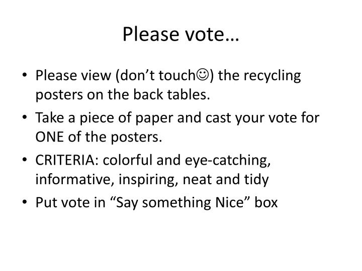 Please vote…