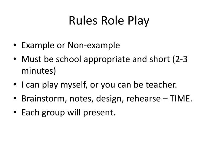Rules role play