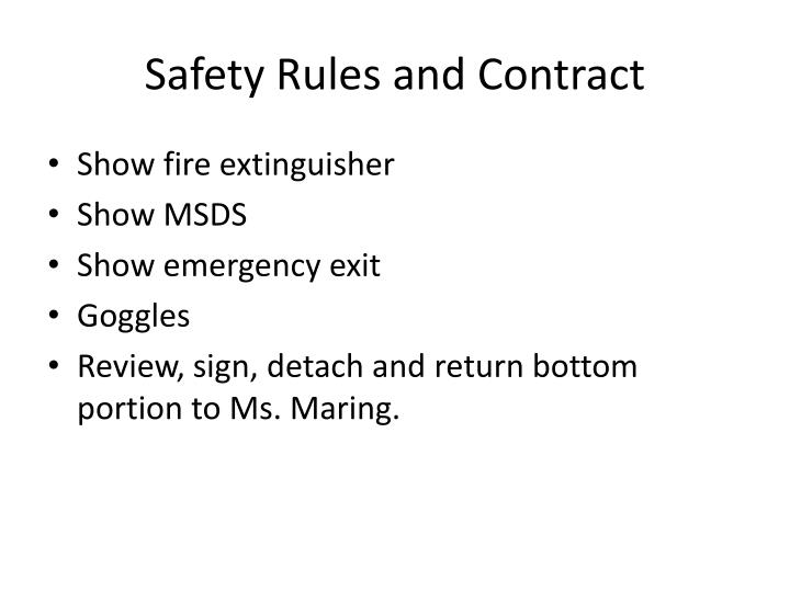 Safety Rules and Contract