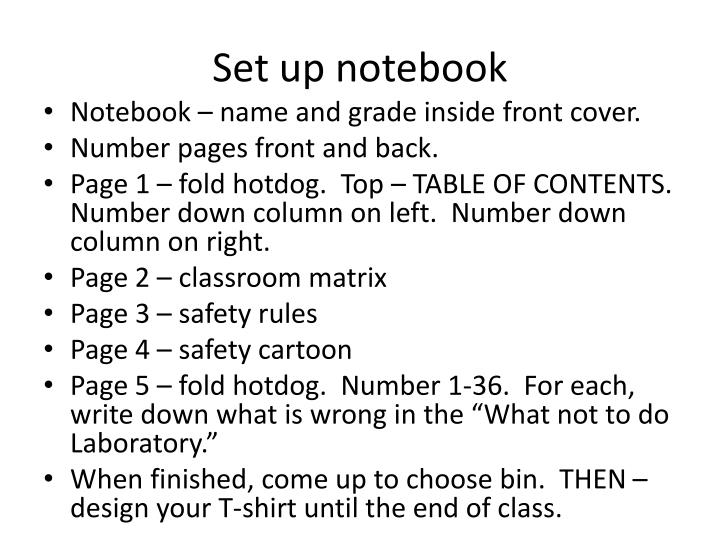 Set up notebook
