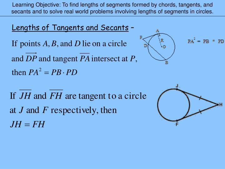 Learning Objective: To find lengths of segments formed by chords, tangents, and secants and to solve...