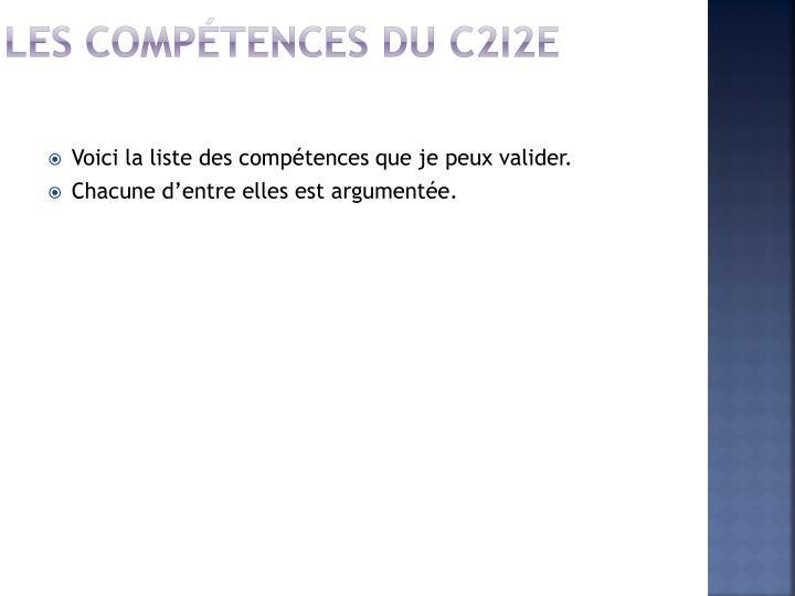 Les compétences du C2i2e