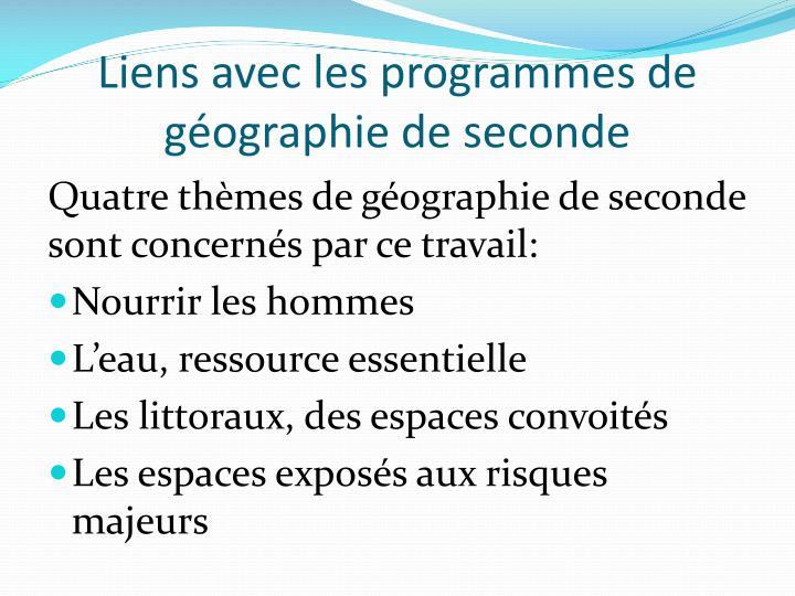 Liens avec les programmes de géographie de seconde