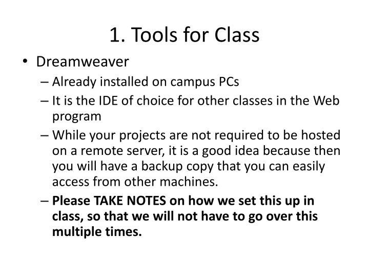 1. Tools for Class