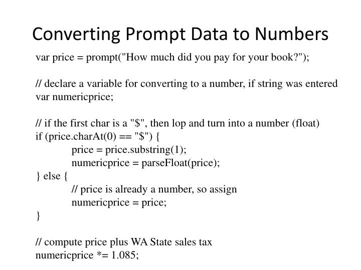 Converting Prompt Data to Numbers